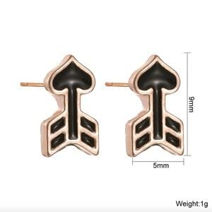 Jewelry - Cupids Love Heart Black Arrow Stud Earrings